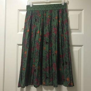 Lularoe Jill Pleated Skirt - Green & Pink Paisley